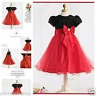 Kids Reds Black Christmas Wedding Party Outfit Flower Girls Dresses SIZE 2 - 10Y