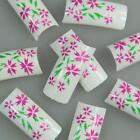 White Pink Green Flower Fashion Design False French Acrylic Nail Tips New