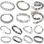 Mens Boys Cool Stainless Steel Link Chain Bracelet Bangle Fashion Wristband Gift