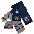 Boys Sonic The Hedgehog Hat Scarf & Glove Set New Kids Character Set 3-12 Years