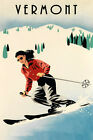 Vermont Lady Ski Skiing Race Winter Sport  Vintage Poster Repro FREE S/H