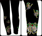 Plus Size Capri Length Leggings Rhinestone Embellished Holiday Sleigh Bells