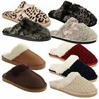 New Ladies DUNLOP Winter Fur Lined Backless Comfort Slippers Mule UK Sizes Shoes