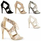 WOMENS LADIES STILETTO HIGH HEELS LACE ZIP UP CUT OUT ANKLE PEEP TOE PARTY SHOES