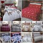 100% Brushed Cotton Flannelette Reversible Duvet Quilt Cover Bedding in 3 Sizes