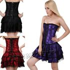 Sexy Women Fancy Dress Skirt Corset Basque Set Goth Lace Black Red Purple S-2XL