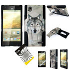 ZTE Warp Elite N9518 Dual Layer T-Stand Armor Hybrid Rubber Cover Case + Film