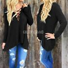 Sexy Women Bandage V Neck Long Sleeve Lace Up Blouse Casual Loose T-Shirt Tops