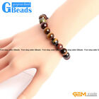 "Handmade Natural Round Mixed  Tiger' Eye Beads Stretchy  Bracelet 7 1/2"" GBeads"