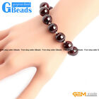 "Natural Garnet Stone Beaded Stretchy Round Beads Bracelet 7 1/2"" Adjustable"