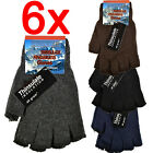6 X FINGERLESS MENS THINSULATE GLOVES THERMAL INSULATION KNITTED WARM LADIES NEW