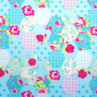 BLUE - PETIT PATCHWORK -100% COTTON FABRIC 160cm OEKO-TEX floral roses