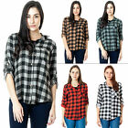 WOMENS ITALIAN CHECK FLANNEL SHIRT LUMBERJACK LONG SLEEVE BUTTON DOWN BLOUSE TOP