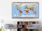 World Map Country Flag Stretched Canvas Print Framed Wall Art Home Office Decor
