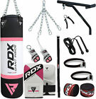 RDX Ladies Boxing Set Heavy Filled 4ft Punch Bag Gloves Bracket Chains MMA Women