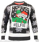 Mens Christmas Jumper Xmas Knitted ELFIE Novelty Sweater New Size S M L XL Red