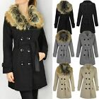 NEW WOMENS LADIES FUR COLLAR COAT MAC JACKET DOUBLE BREASTED DETACHABLE HOOD