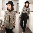 Vintage Peacock Feather Print Women Loose Long Sleeve Lapel Leisure New Blouse