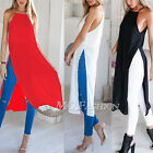 Womens Ladies Casual Side High Slits Tee Long Tops Maxi Dress T-shirt Split Tops