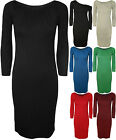 New Womens Plain Off Shoulder Long Ruched Ladies Scoop Bodycon Midi Dress 8 - 14