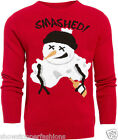 Mens Christmas Jumper Xmas Knitted SNOWMAN Novelty Sweater New Size S M L XL RED