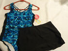 TOTAL GIRL Size 12-1/2 16-1/2 Plus Choice One Piece Swimsuit Cover Skirt NWT
