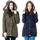 Womens New Cotton Twill Parka Chunky Fur Trim Hooded Ladies Jacket Coat One Size