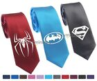 "DC Super Hero Batman Superman Spiderman Logo Skinny Slim Woven Silk 2.5"" Tie"