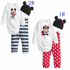 3 pcs Baby boy girl Mickey Minnie sets romper+pants+hat for baby 6-24months