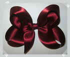 LARGE Burgundy Wine Satin Boutique Loopy Style Hair Bow