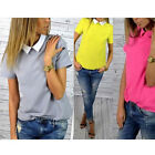 2016 Womens Casual Chiffon short sleeve top shirt blouse New uk size 8-14