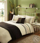 Satin Bedding Set - Embroidered 5pc Bed in a Bag Cream Brown Duvet Cover