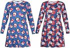 Womens Santa Penguin Printed Ladies Long Sleeve Flared Swing Christmas Dress Top