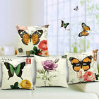 Vintage Linen Cotton Couch Sofa Cushion Cover Throw Pillow - Butterfly 45X45 cm