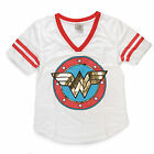 DC Comics Wonder Woman Gold Foil Logo Juniors V-Neck Jersey Shirt