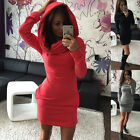 Women Hooded Hoody Sweatshirt Bodycon Hoodie Pullover Tunic Jumper Dress 4 Size