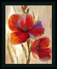 Fluorescent Blooms I Nan 20x16 Red Amaryllis Flowers Painting Art Print Framed