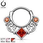 New Surgical Steel Square CZ Gem Lace Swirl Nose Septum Clicker Ring 16g