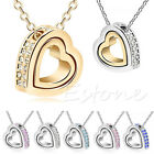 Fashion Women's Heart Charm Rhinestone Pendant Clavicle Necklace Chain Jewelry