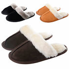 Ladies Julia Real Suede Leather Slippers / Non Slip Sole Faux Fur Plush Lining