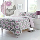 A Fresh & Retro Touch! Floral Duvet Cover Set in Grey Purple & Pink - Reversible