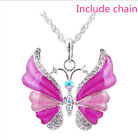 Women's Charm HA Silver Rhinestone Crystal Butterfly Necklace Pendant Chain gift