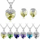 Wholesale Elegant Heart Shiny 925silver Necklace Ear Ring Studs Jewelry Set