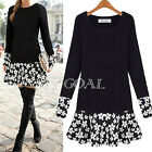 Sexy Women Ladies Long Sleeve Floral Blouse Bodycon Party Mini Dress Tunic Tops