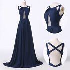 Front Split Backless Long Wedding Ball Gowns Evening Prom Party Bridesmaid Dress