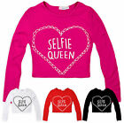 Girls 'Selfie Queen' Slogan Crop Top New Kids Long Sleeved Block Colour Tee 5-13