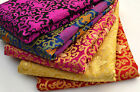 RARE! 1/2 YARD TIBET SILK DAMASK JACQUARD BROCADE FABRIC: HOLY LOTUS DORJE CORSS