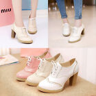 Oxford High Block Heels Court Shoes Womens Brogues Lace Up Wingtip Retro Shoes