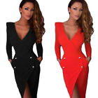 Sexy Women Long Sleeve Slim Bodycon Party Cocktail Evening backless Mini Dress
