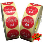 10,000 x 'SALE £4' Retail Self Adhesive Red Shop Price Labels Stickers 35mm